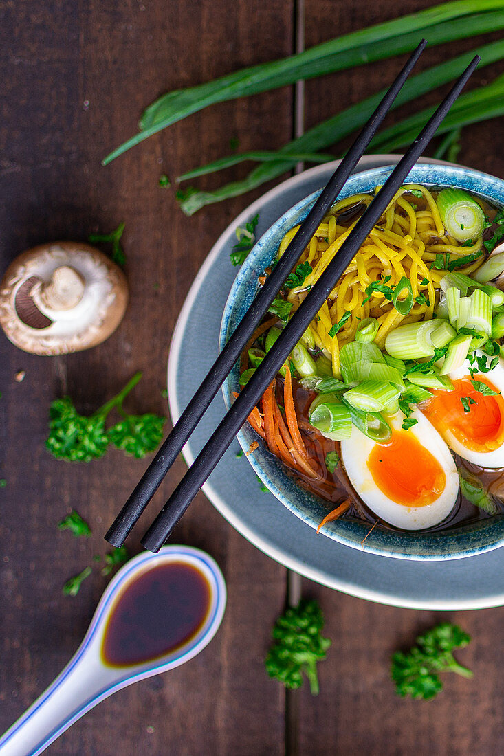 Ramen soup with vegetables and egg (Asia)