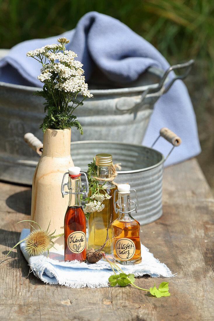 Masterwort tincture, yarrow tea and teasel tincture