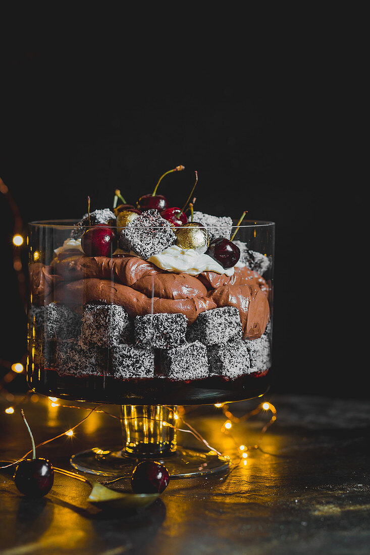 Chocolate lamington and cherry trifle