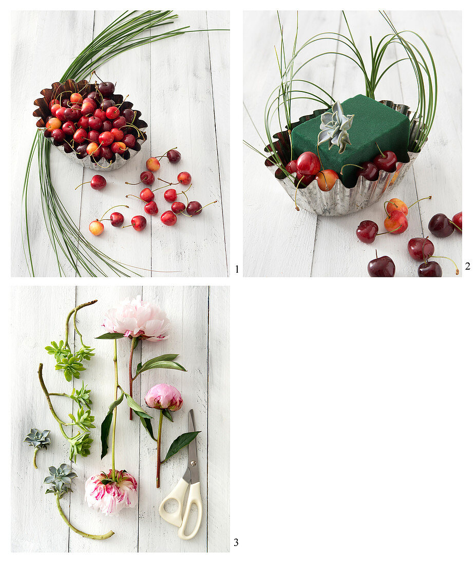 How to assemble a DIY flower basket with peonies, cherries and echeveria
