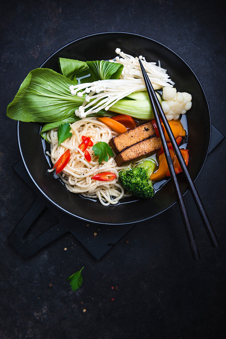 Ramen with tofu, mushrooms and vegetables