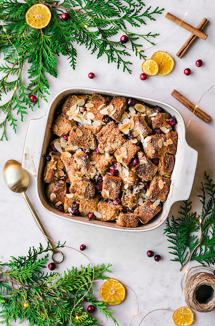 Cranberry Almond Bread Pudding