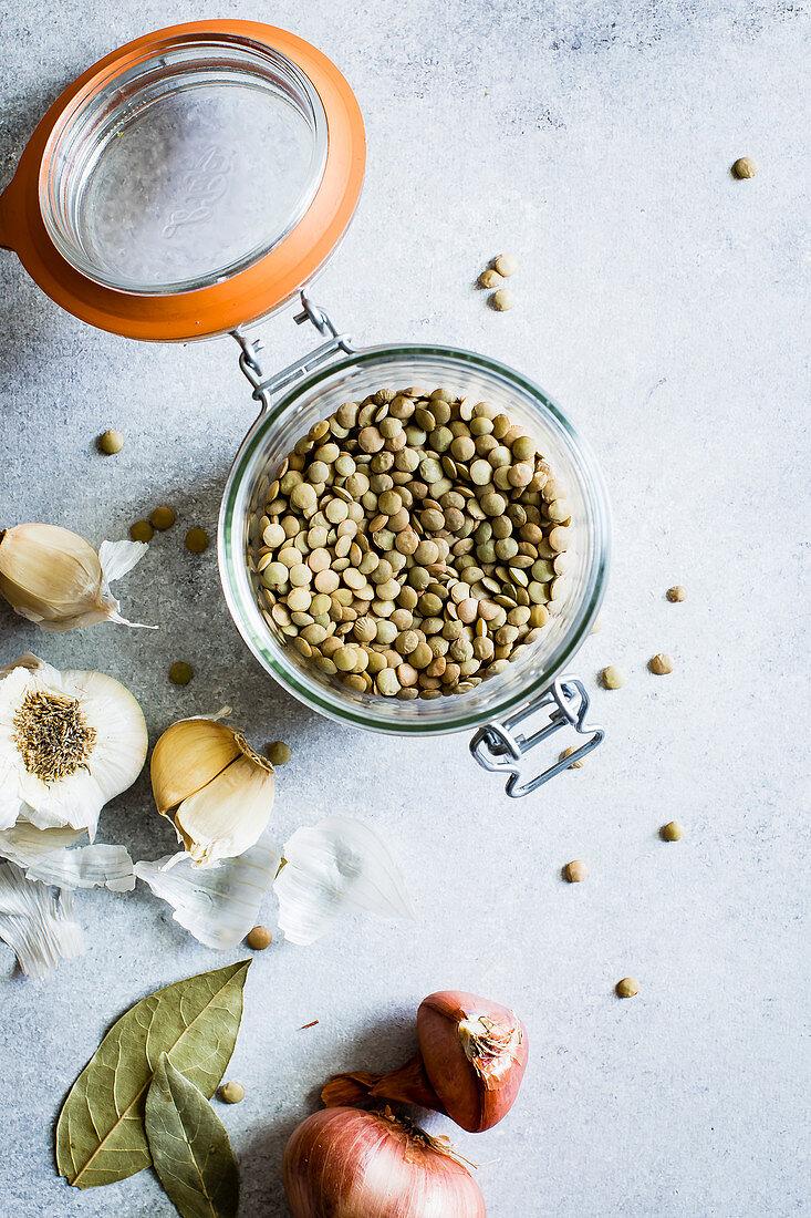 Lentils in a jar