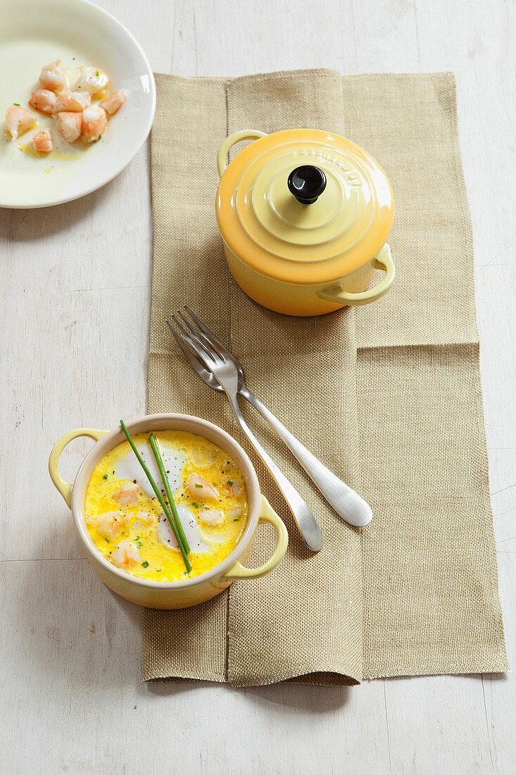 Oeuf Cocotte with shrimp and saffron