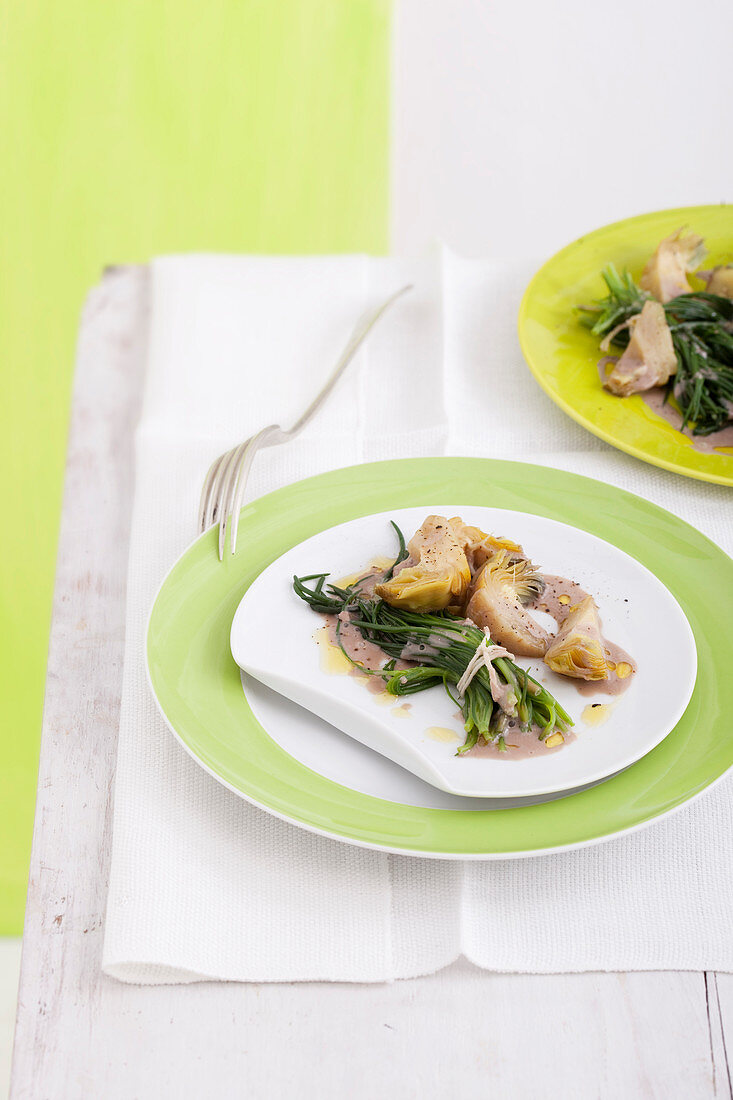 Agretti and artichoke with anchovy sauce