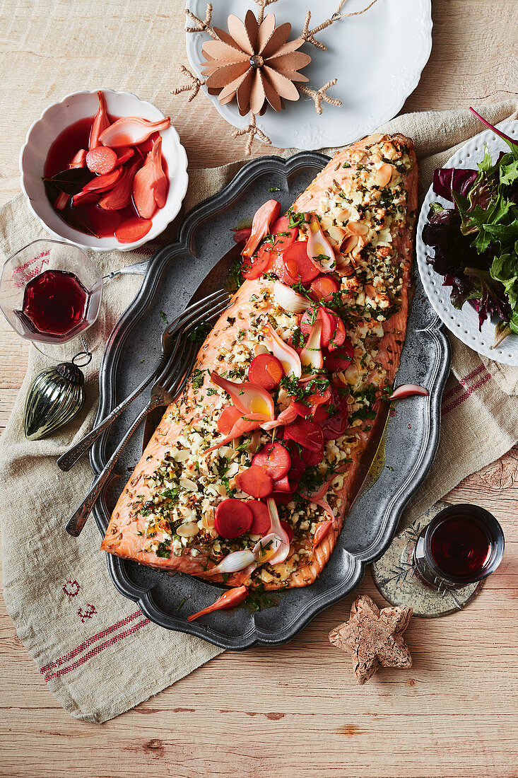 Charred herb and feta salmon with radish and onion pickle