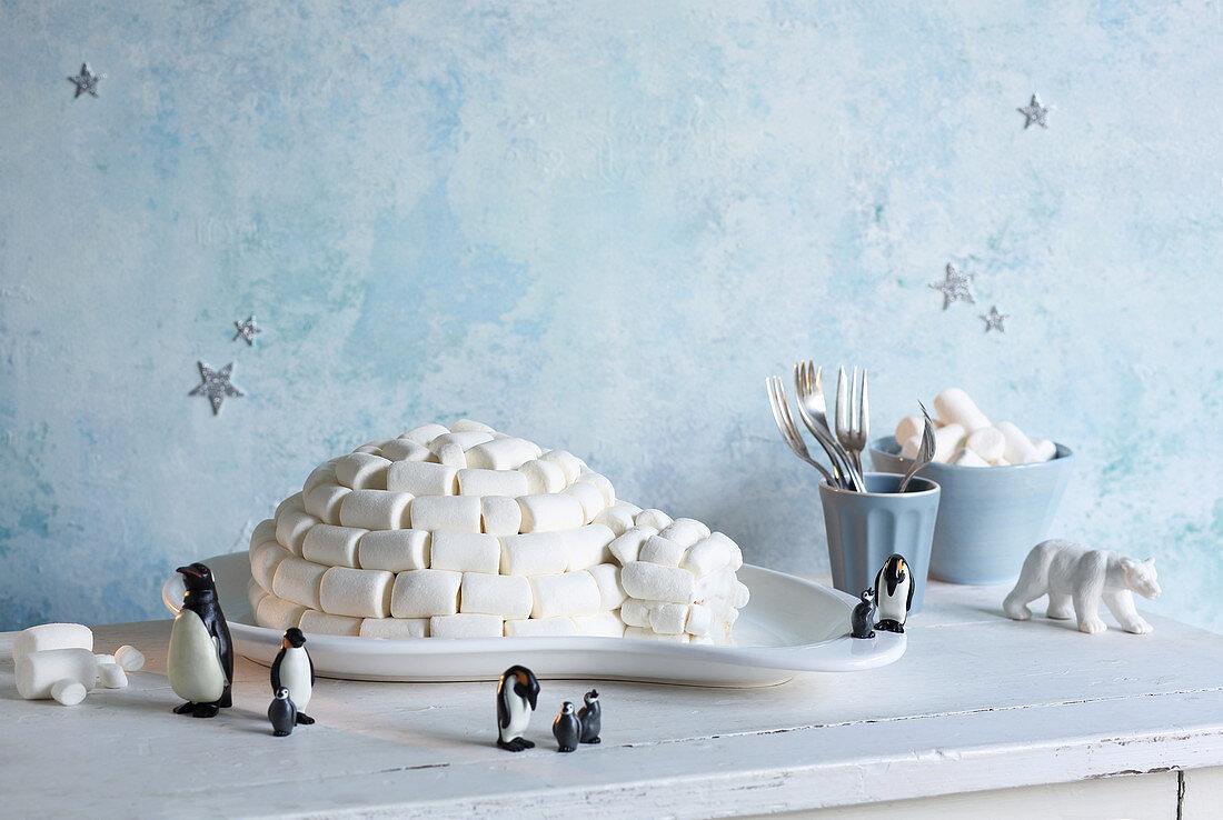 Igloo cake with marshmallows