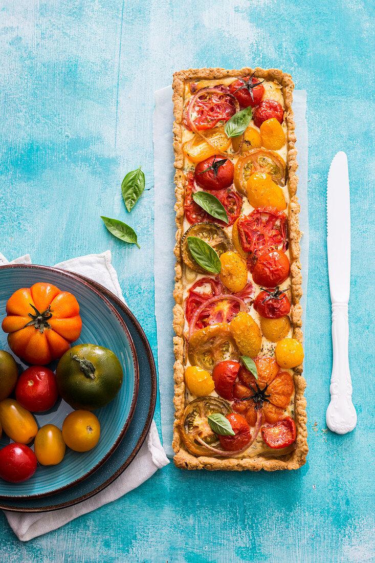 Heriloom tomatoes tart