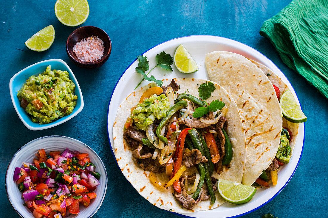 Mexican fajitas tacos