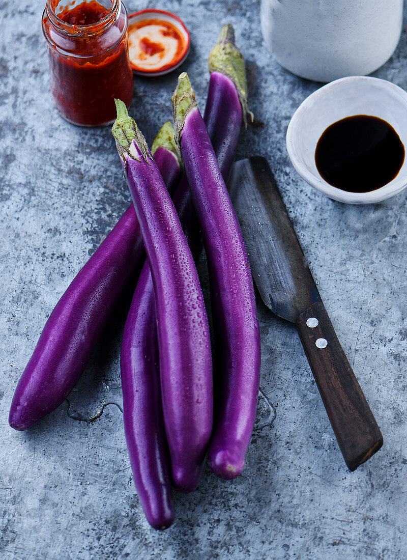 Japanese eggplants, soy sauce and chili paste
