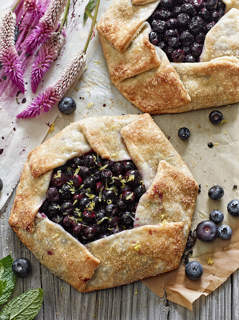 Freeform blueberry galettes
