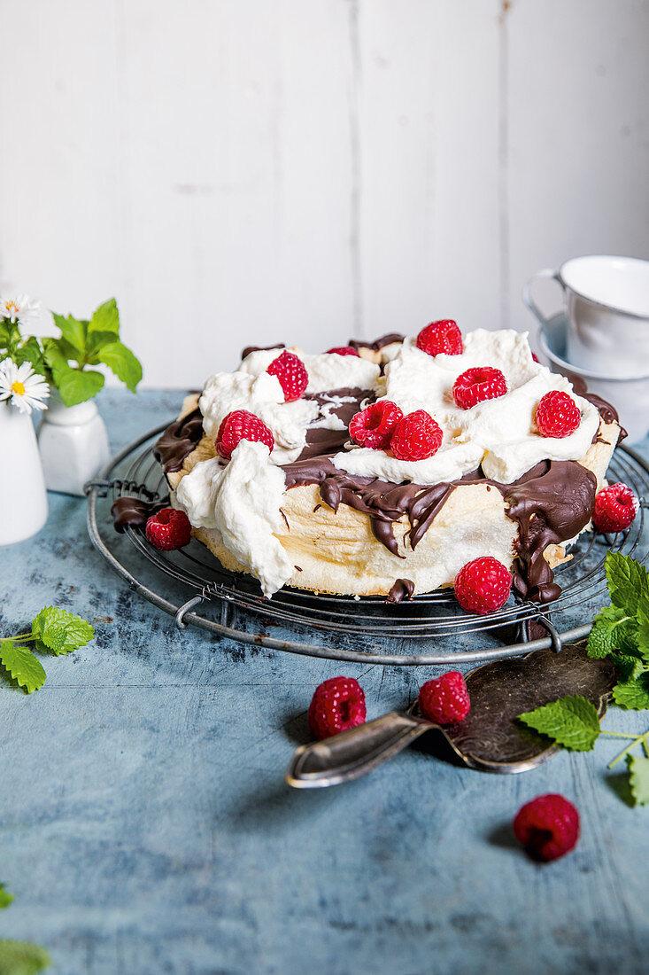 On 'Raspberry Cloud 7' - a meringue with chocolate and raspberry cream