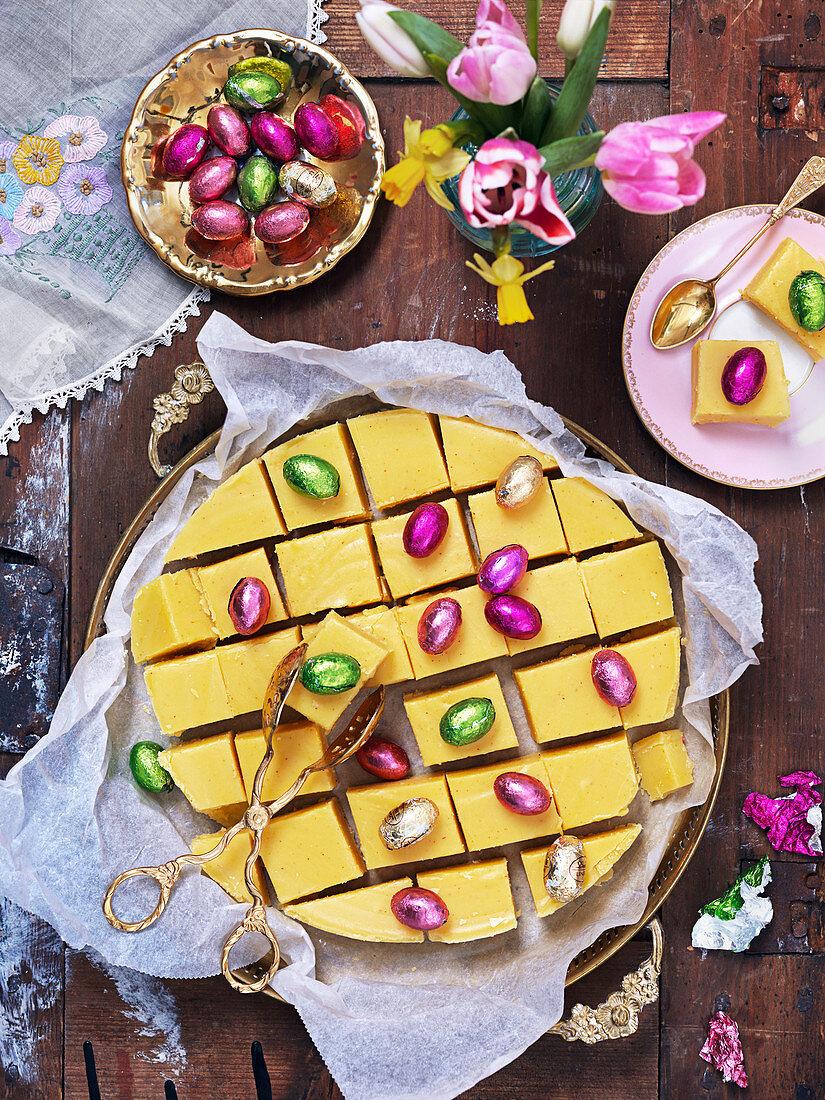 Easter saffron fudge with chocolate eggs