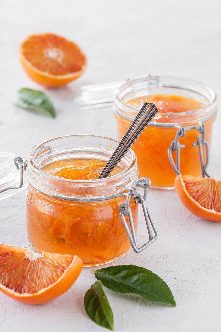 Orange marmelade made from blood oranges