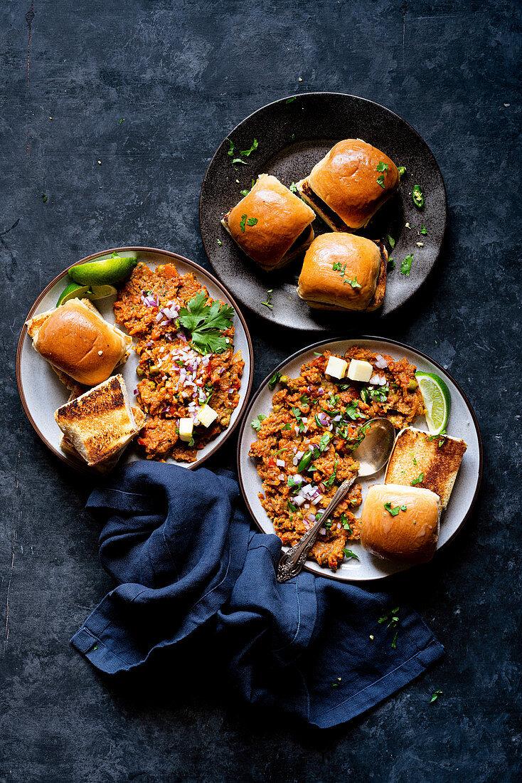 Pav Bhaji (vegetable puree, India) served with toasted buns