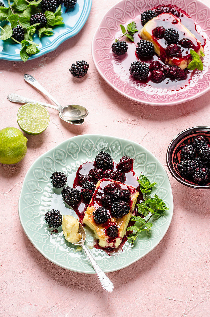 Creme caramel with lime and blackberries