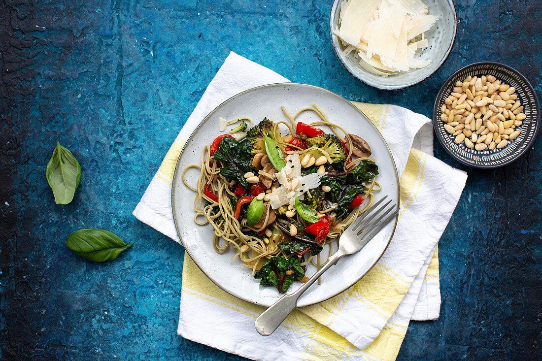 Spaghetti with broccoli, chard and parmesan