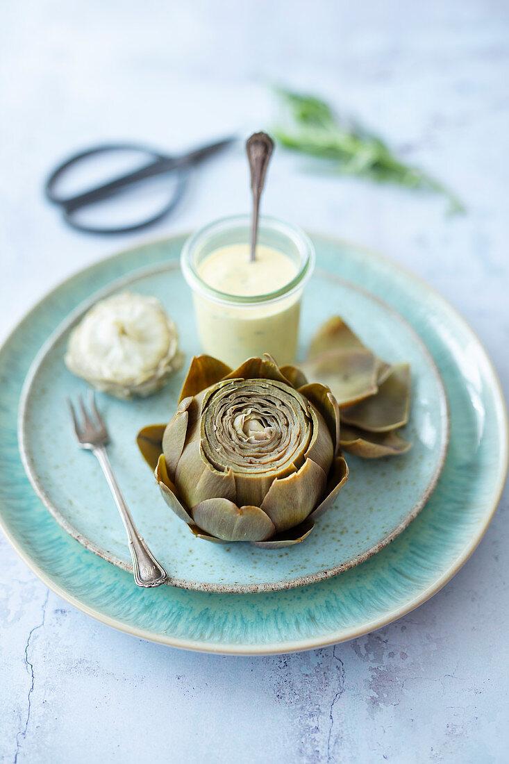 Artichoke with bernaise sauce and tarragon