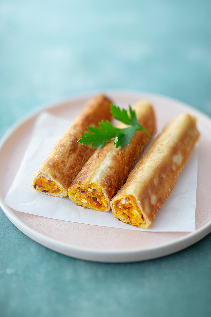 Börek with pumpkin and feta, cooked in a pan