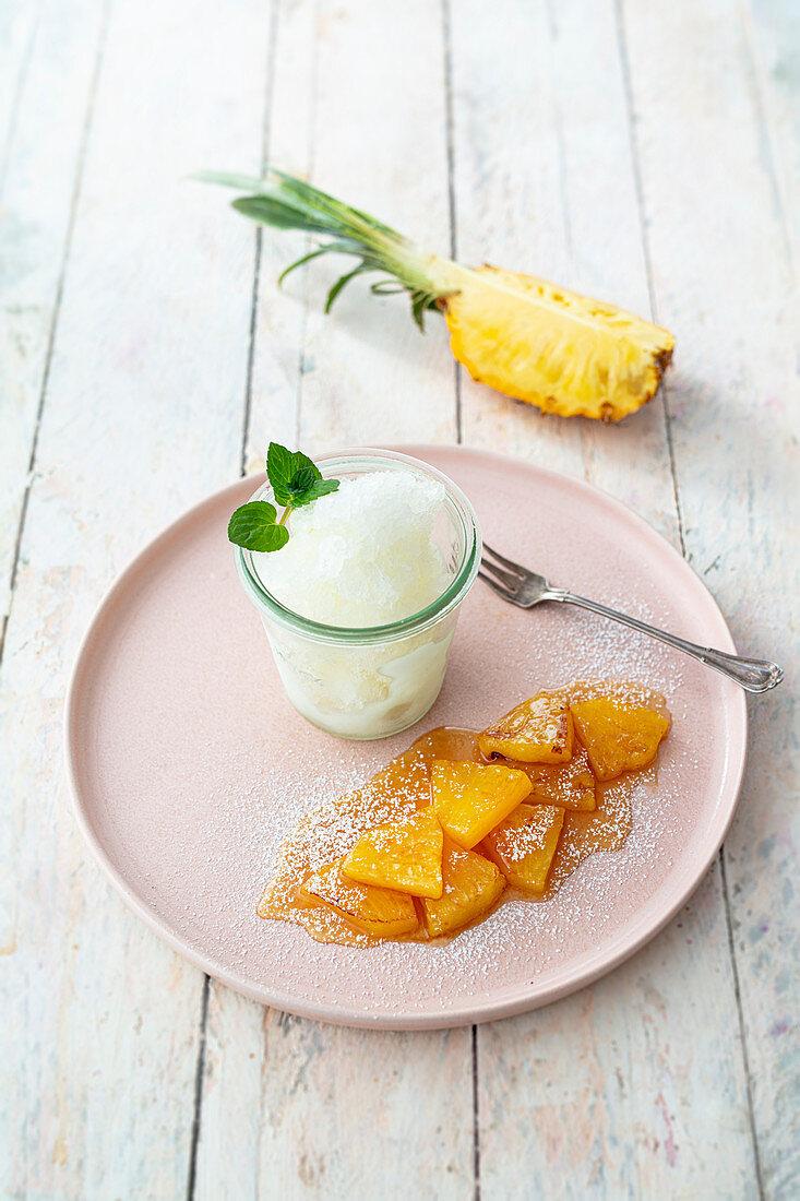 Flamed pineapple with champagne granita (vegan)