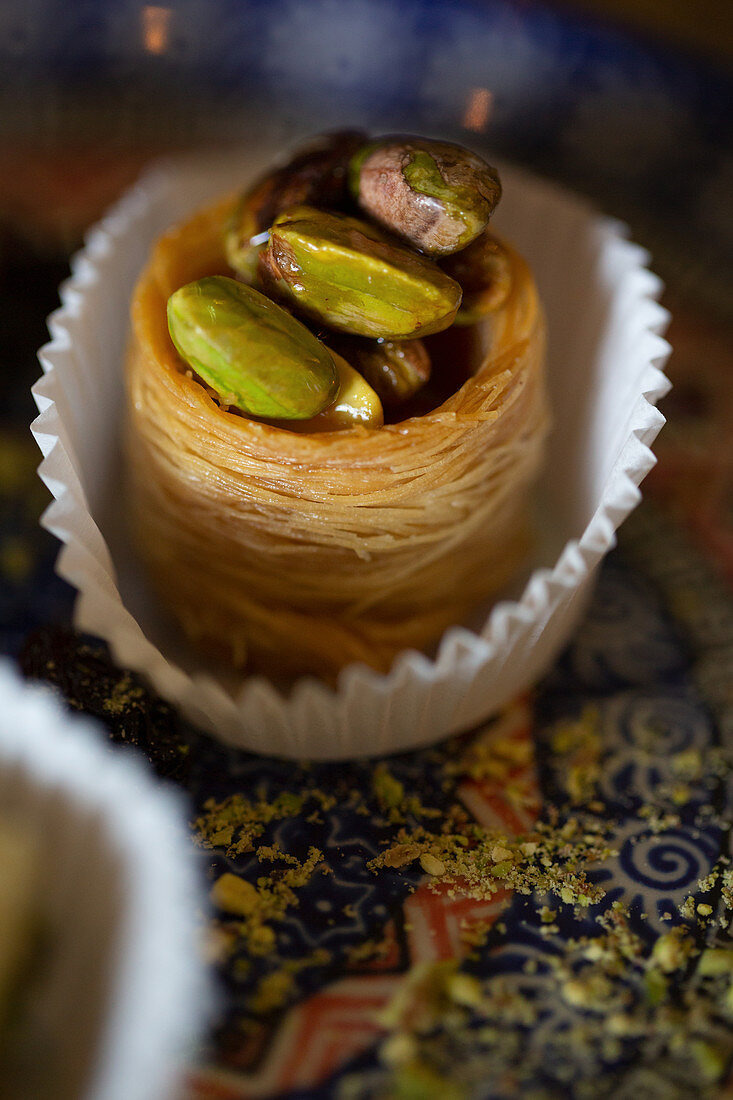 A Syrian dessert with angel's hair and pistachio nuts, 'Saliba' restaurant, Hamburg