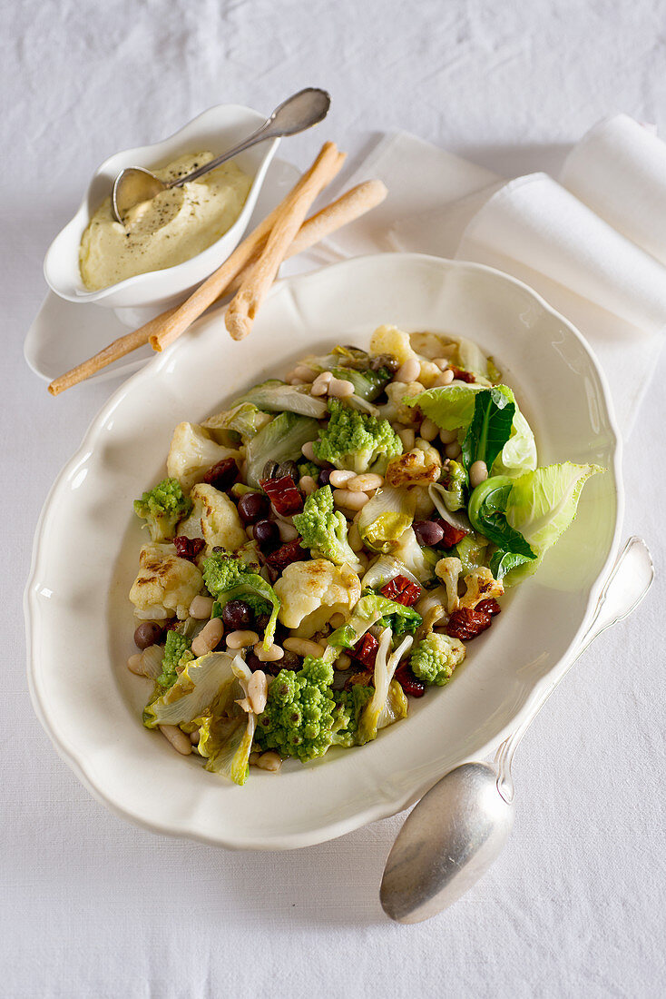 Cauliflower salad with beans and aioli