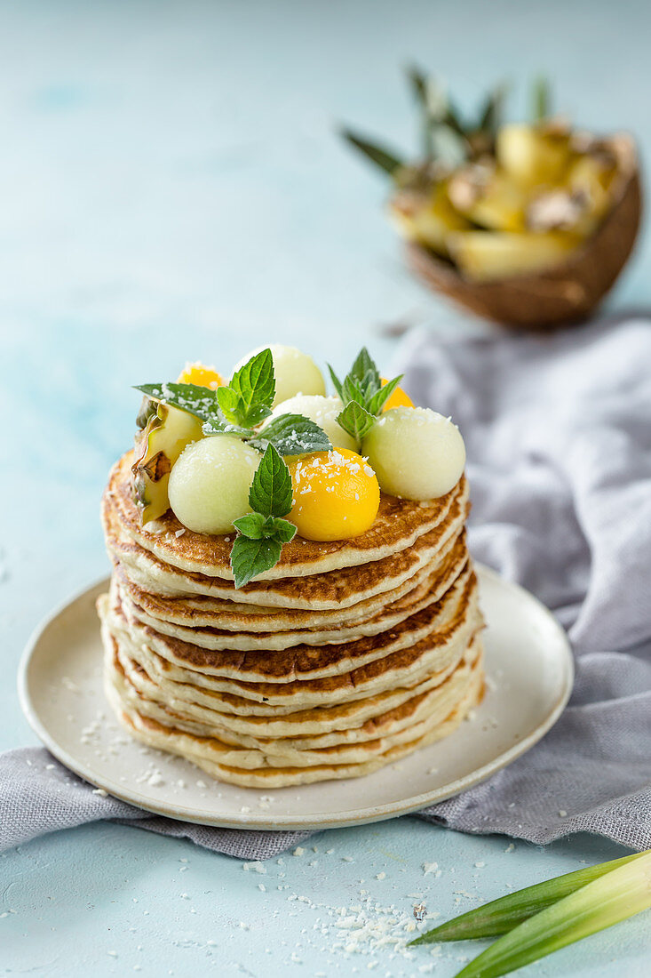 Pancakes with melon balls