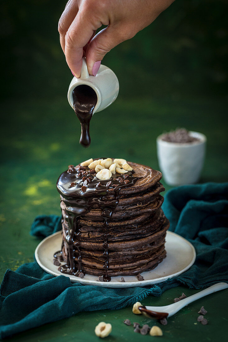 Chocolate pancakes with hazelnuts