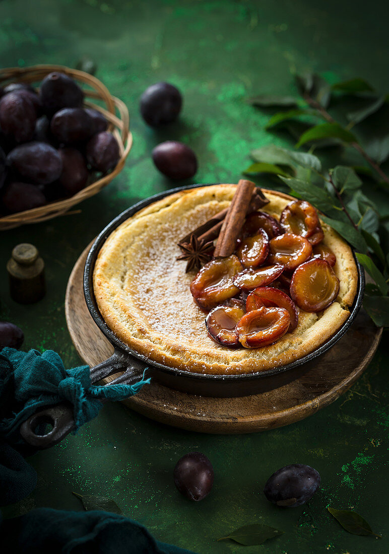 Cheesecake with stewed damsons