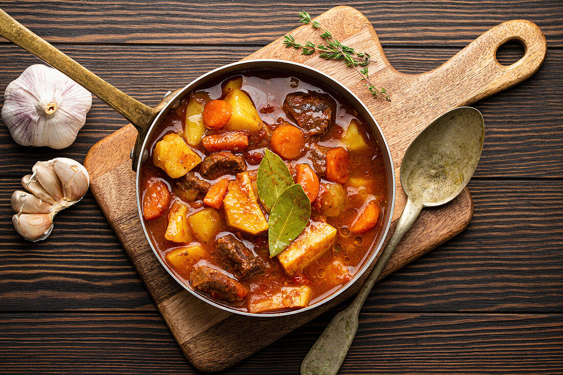 Beef stew with potatoes, carrots and gravy