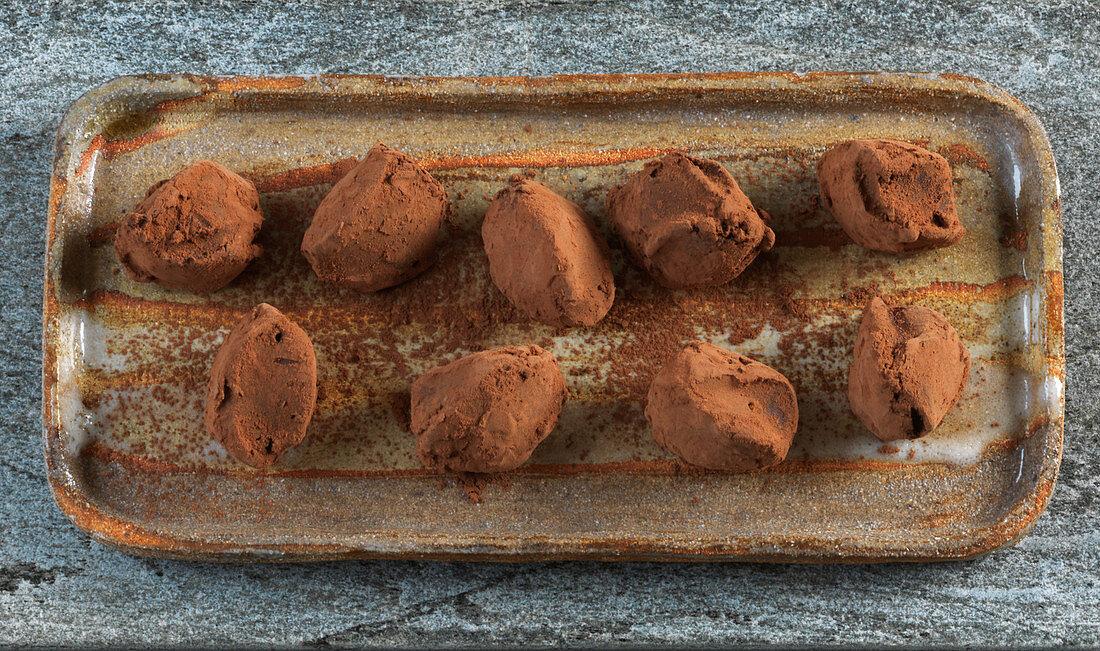 Dark chocolate truffles from France