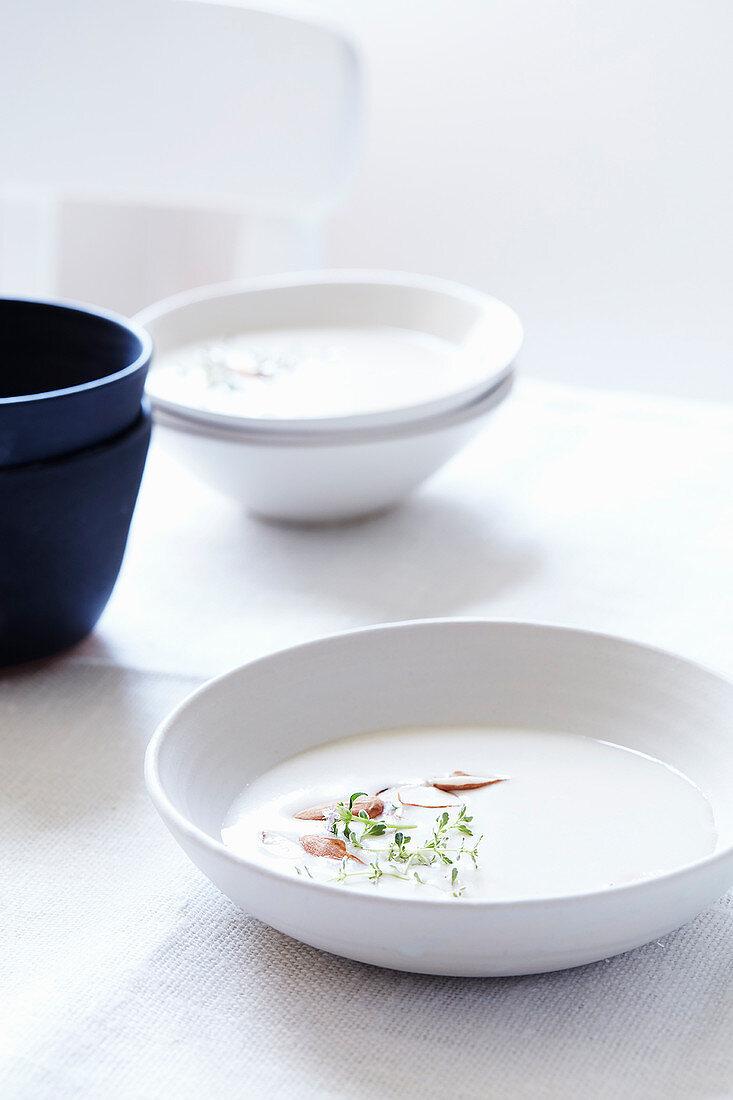 Cream of almonds soup with saffron