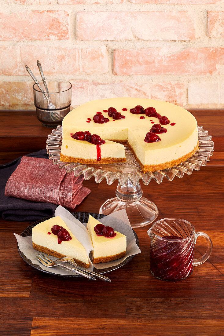New York Cheesecake mit Butterkeksboden