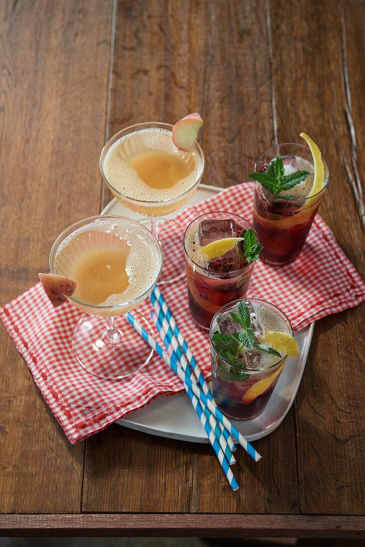 Grape-mint lemonade, Riesling-peach cocktail