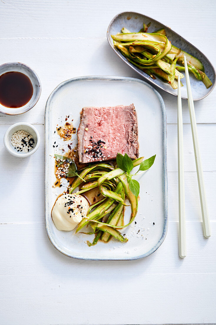 Roast beef with asparagus kimchi