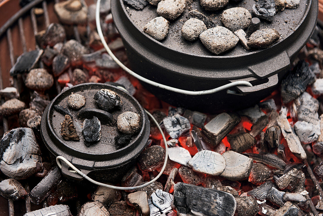 Dutch oven on coals on a grill