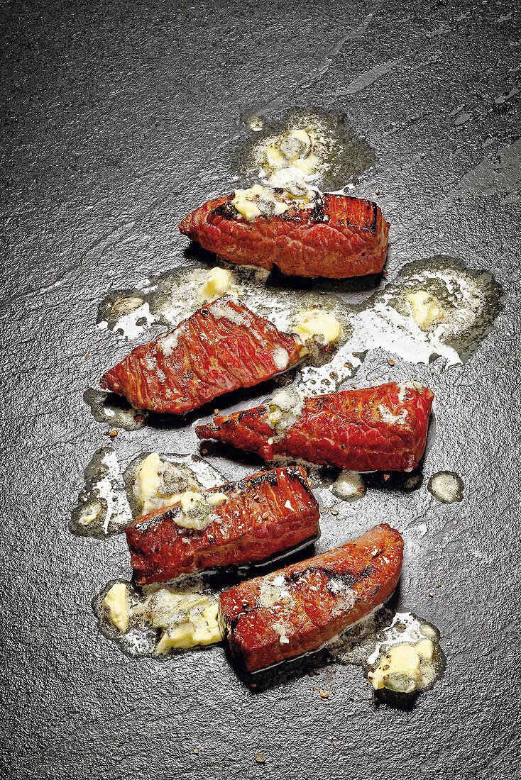 Grilled Flank Steak Fingers with Sage-Lemon Butter