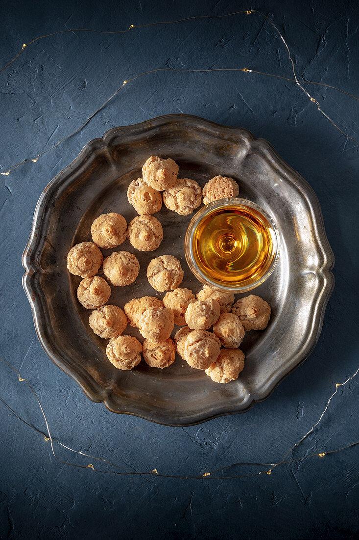 Italian festive dessert, amaretti biscuits with Amaretto liqueur