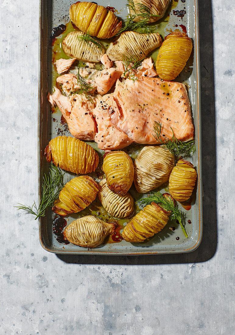 Tray-baked salmon with Jerusalem artichokes and potatoes