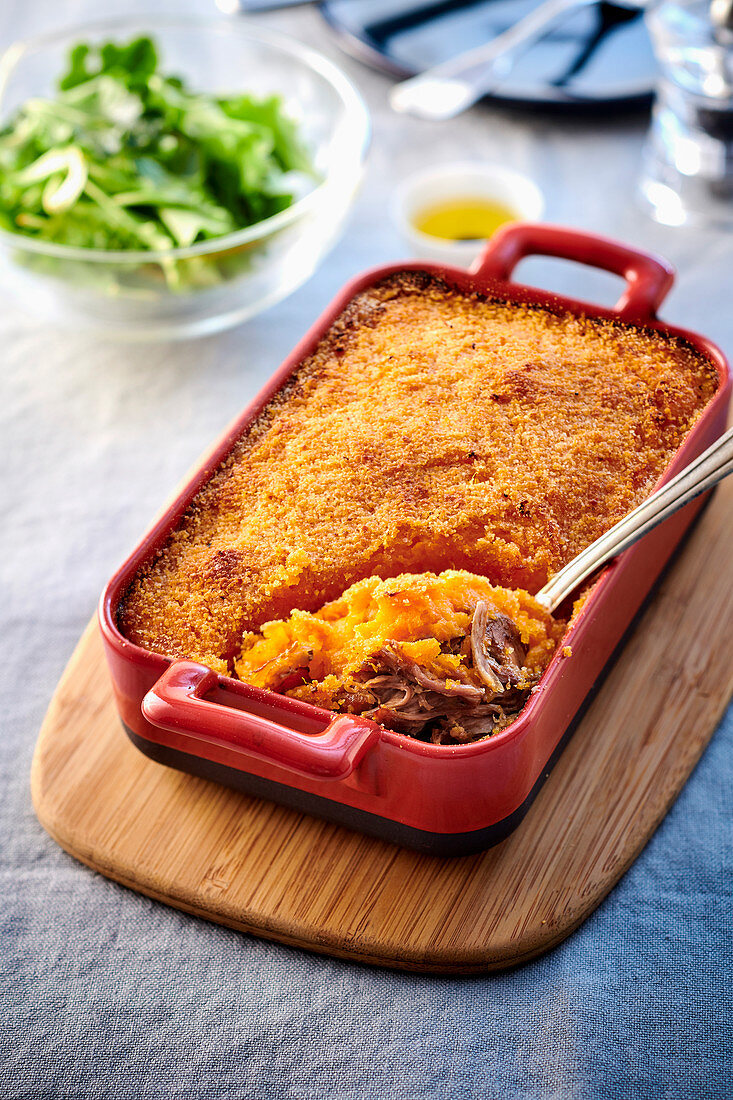 Casserole with lamb and sweet potato topping