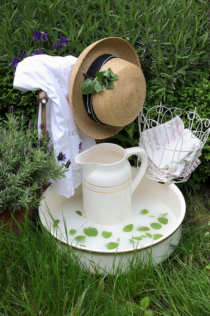 Soothing mint wash in an antique porcelain bowl