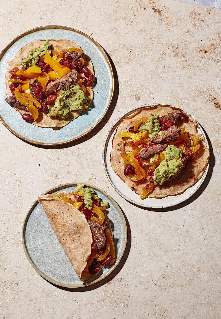 Fajitas with beef filet and guacamole