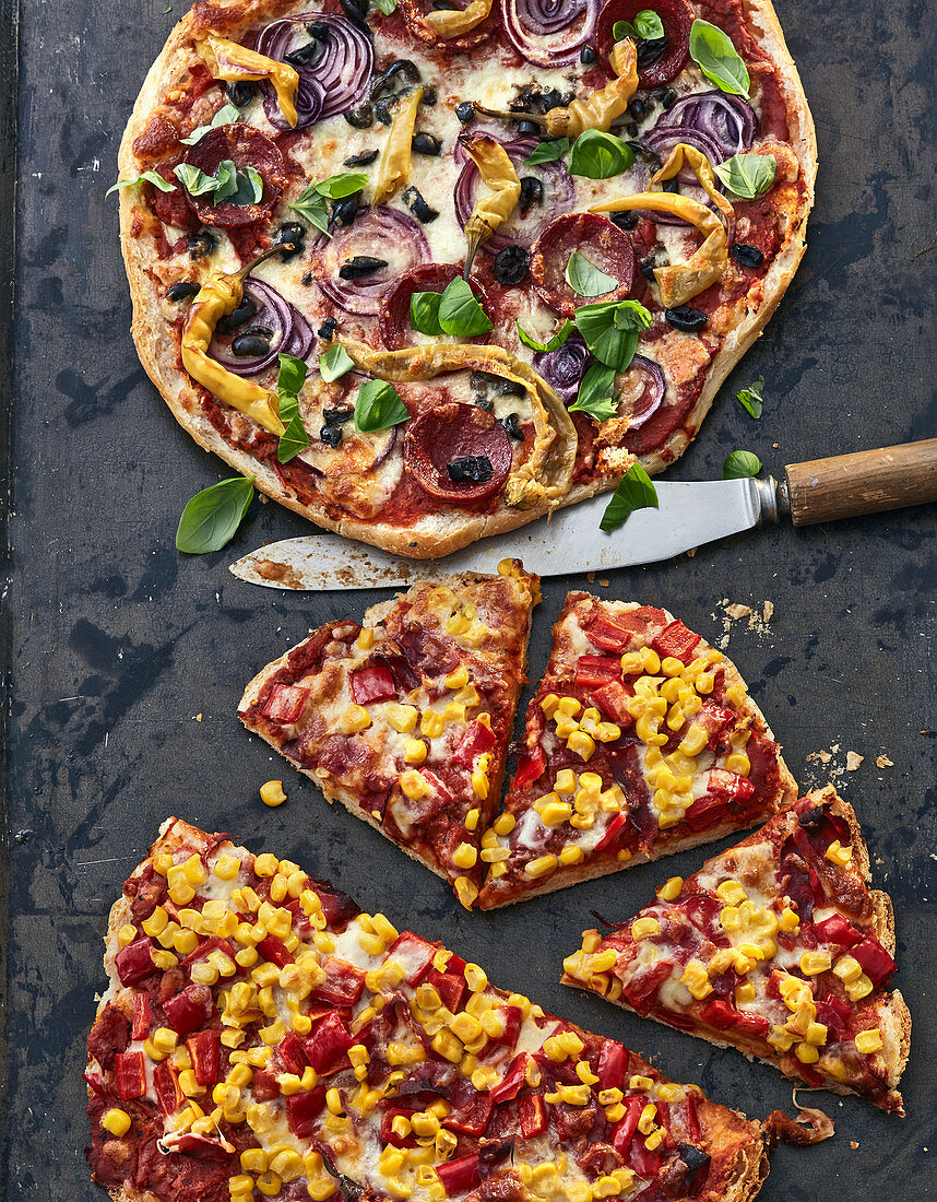 Super fast, Turkish pide bread pizza with two different toppings