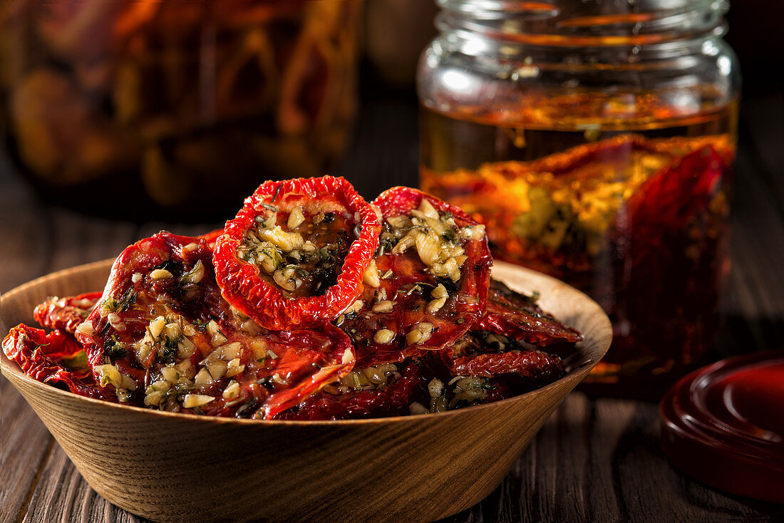 Preserved dried tomatoes filled with cheese