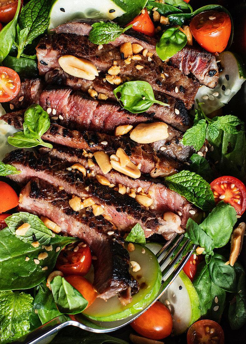 Beef thai salad on dish