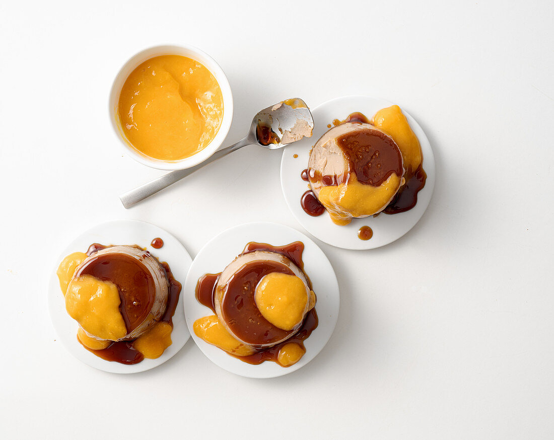 Chestnut creme caramel with kaki sauce