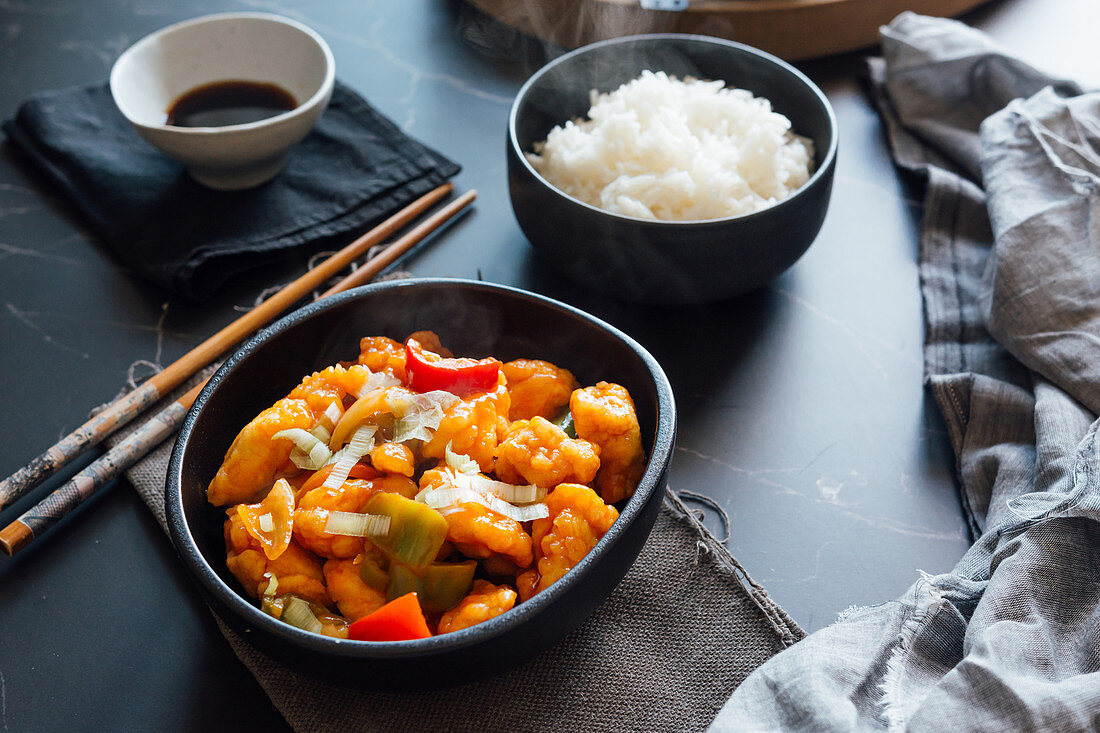 Rice and sweet and sour chicken dish