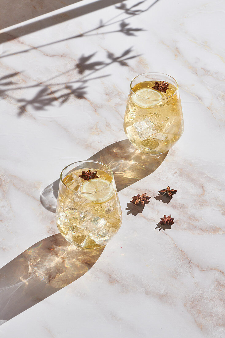 Cocktails with lemon slices and ice cubes garnished with star anise