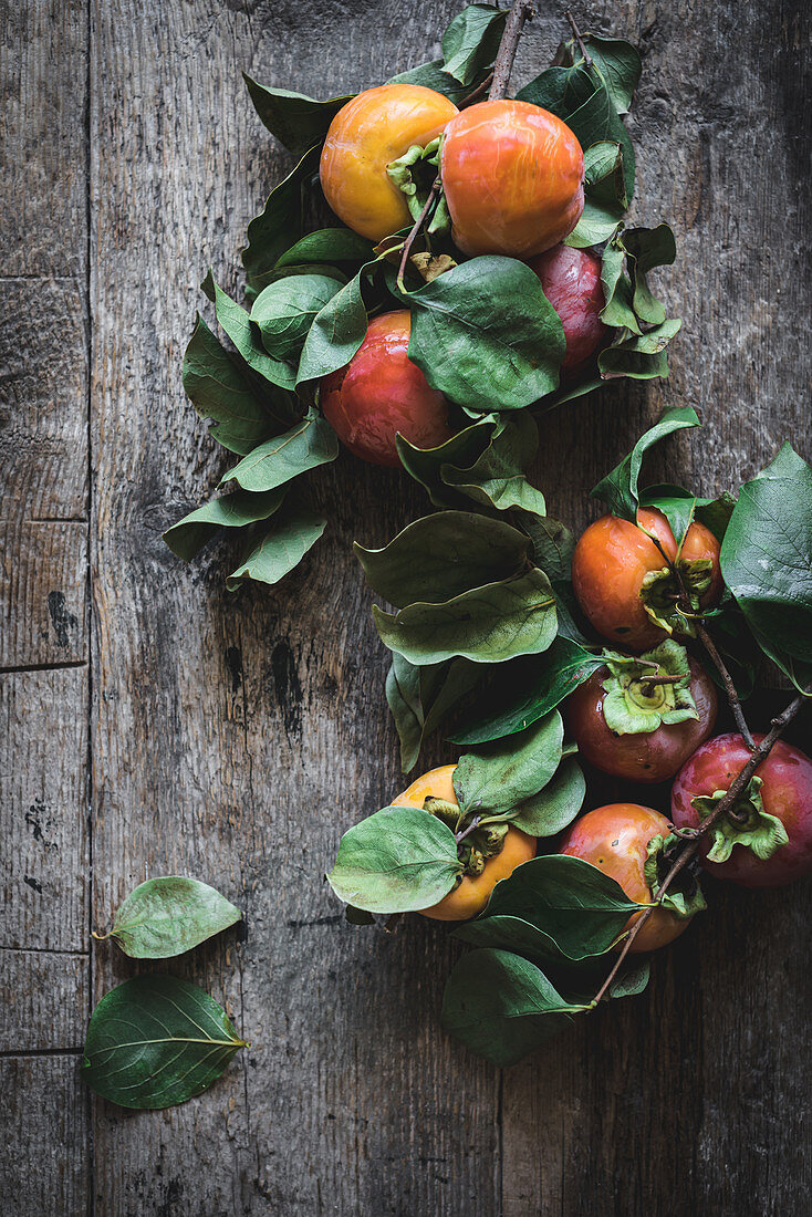 Composition of twigs with sweet ripe persimmon fruits on gray wooden table