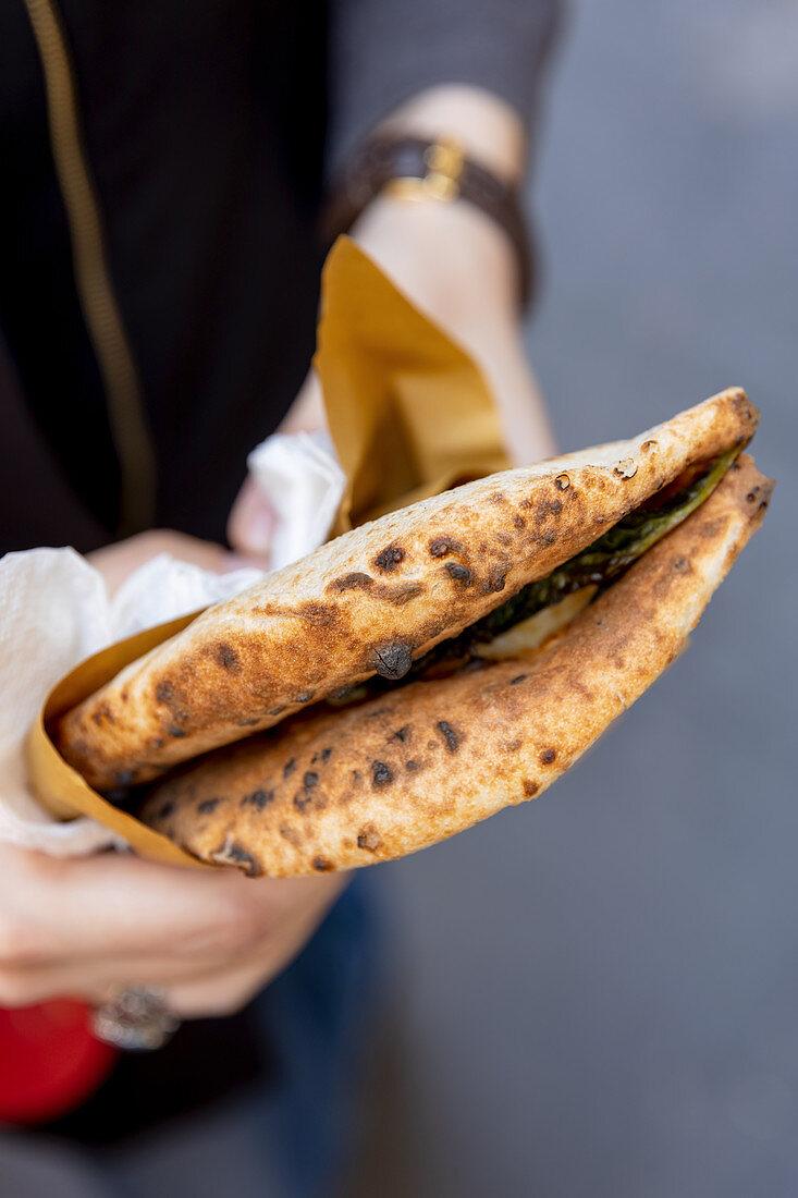 Calzone as street food